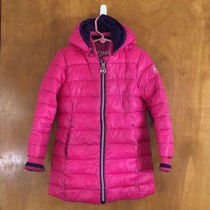 Michael Kors 4T Pink Knee Length Puffer Coat